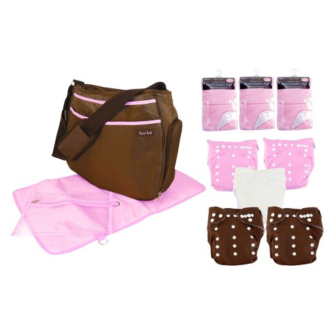 Trend Lab 19 Pc. Cloth Diaper Starter Pack - Pink and Brown
