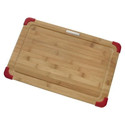 "KitchenAid® 12"" x 18"" Bamboo Cutting Board - Brown/Red"