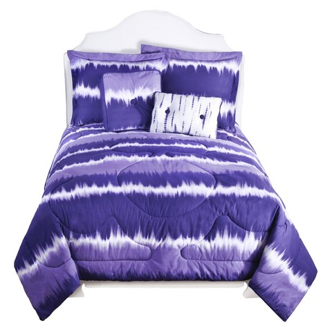 Tie Dye Comforter Set Purple
