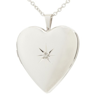 Silver Plated Heart Locket Pendant Necklace