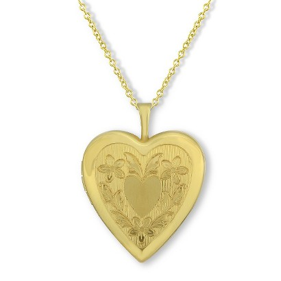 Gold Plated Heart Fancy Heart Locket Pendant Necklace