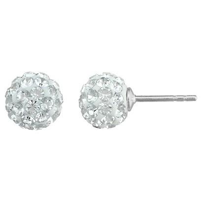 Silver Plated Crystal 6mm Ball Stud Earrings