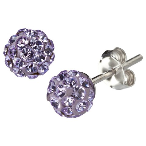 Silver Plated Crystal 6mm Purple Stud Earrings