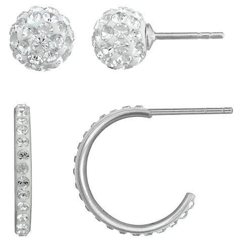 Silver Plated Crystal Ball Hoop Earrings Set