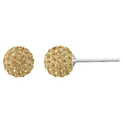 Silver Plated Crystal 6mm Champ Ball Stud Earrings