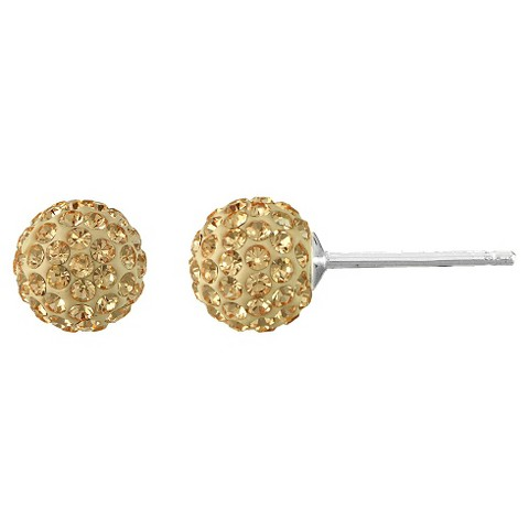 Silver Plated Crystal 6mm Champagne Ball Stud Earrings