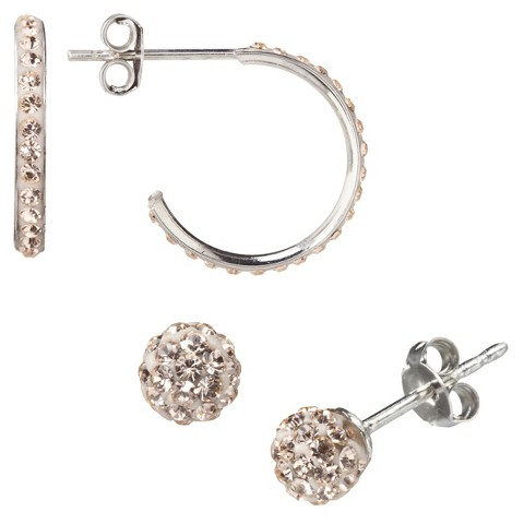 Silver Plated Champagne Crystal Ball & Pave Hoop Earrings Set
