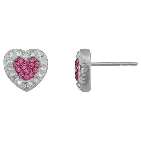 Silver Plated Crystal White/Pink Heart Stud Earrings