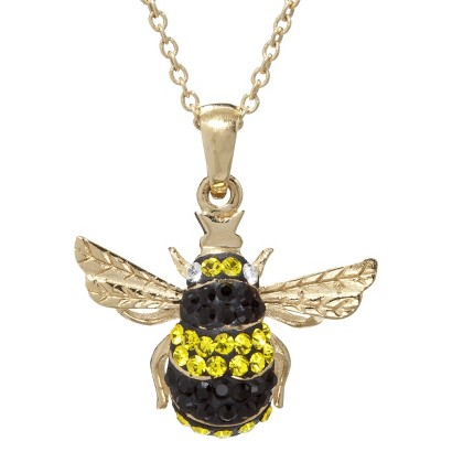 Gold Plated Crystalal Y&B Bee Pendant Necklace