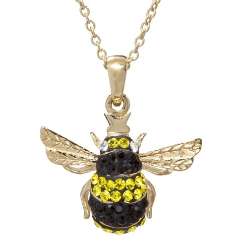 Gold Plated Crystal Bee Pendant Necklace
