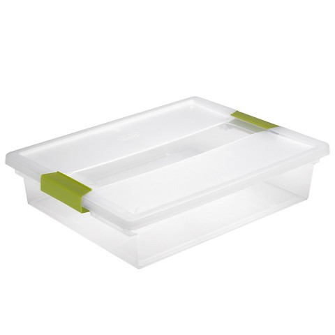Sterilite® Clip Storage Tote Set of 6 - Transparent with Green Latch Large