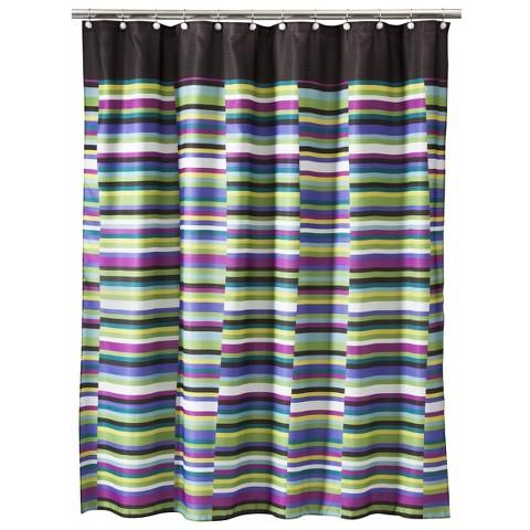 Techno Stripe Shower Curtain Tar
