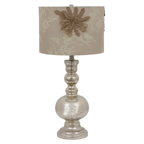 Mercury Glass Lamp with Decorated Shade (Includes CFL Bulb)