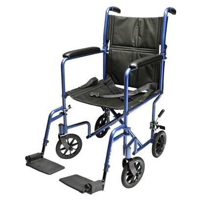 Everest and Jennings Aluminum Transport Chair - Blue
