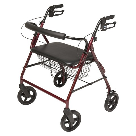 Lumex Walkabout Four Wheel Imperial Rollator - Burgundy