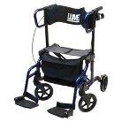 Lumex HybridLX Rollator Transport Chair - Blue