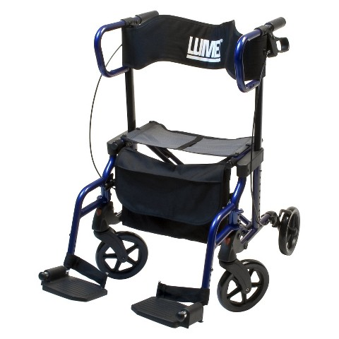 Lumex HybridLX Rollator Transport Chair - Blue
