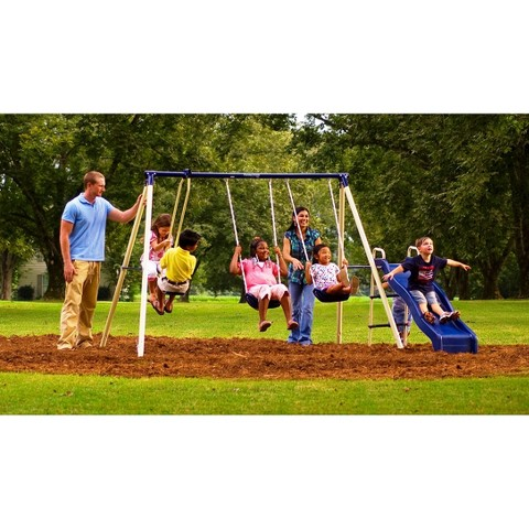 Flexible Flyer Swingin' Fun Steel Swingset - Ivory/Blue