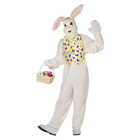 Adult Deluxe White Easter Bunny Costume - One Size Fits Most