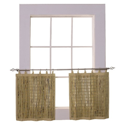 Versailles Bamboo Ring Top Curtain Tier Set
