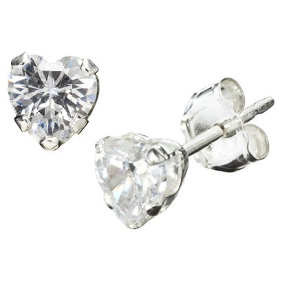 Sterling Silver 4mm Heart Cubic Zirconia Stud Earrings
