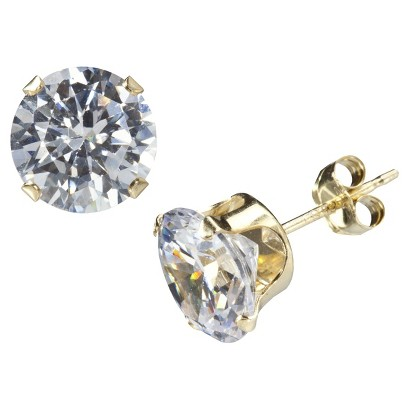 Gold Over Silver 8mm Cubic Zirconia Earrings