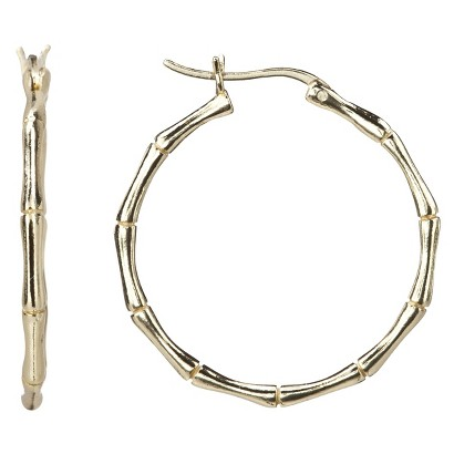 Gold Over Silver Polished Bamboo Hoop Earrings
