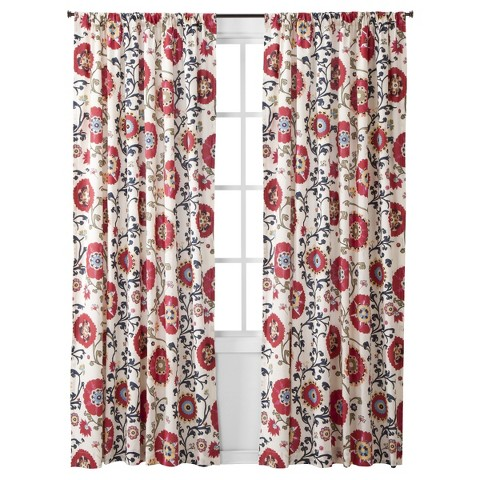 "Mudhut™ Suzani Vine Curtain Panel - Red (55x84"")"