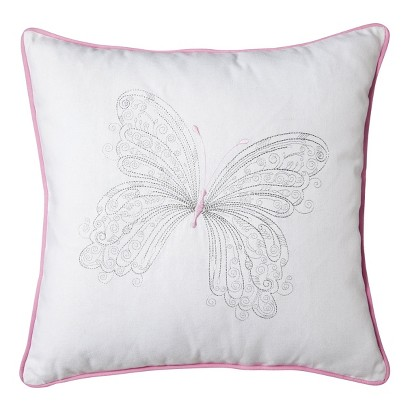 """Castle Hill Maddie Pink Butterfly Pillow - Pink/White (18x18"""")"""