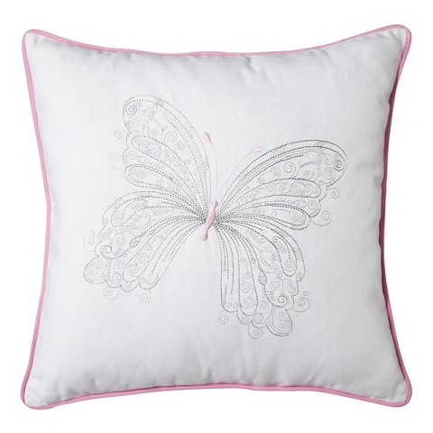 "Sheringham Road Maddie Pink Butterfly Pillow - Pink/White (18""x18)"