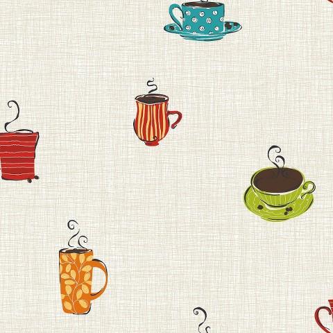 Coffee Sidewall Wallpaper - Sand/Lime/Teal