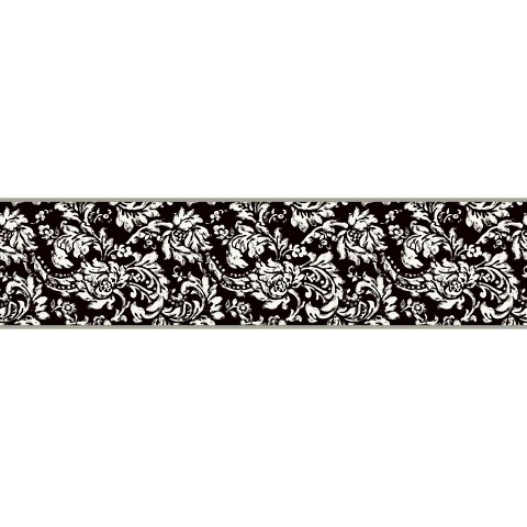 Damask Border - Black/White/Metallic Silver