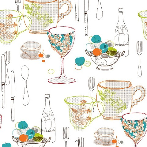 Graphic Tableware Wallpaper - Multicolored