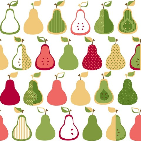 Kitchen Pears Wallpaper - Green/Yellow/Coral
