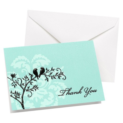 Perched Birds Wedding Thank You Cards (50 count)