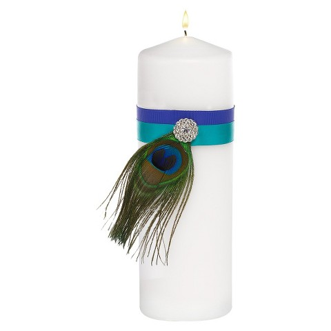 "Peacock Plume Unity Candle - 9"" tall"