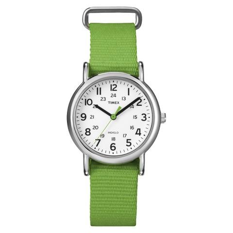 Women's Timex Weekender™ Mid-Size Slip Thru 18mm Strap Watch - Green - T2N835TE