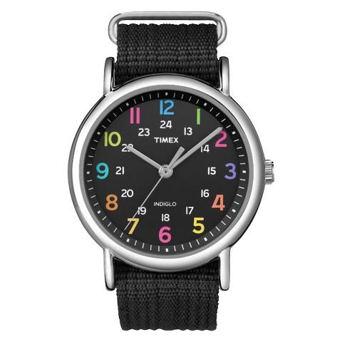 Timex Weekender™ Full-Size Slip Thru 20mm Strap Watch - Black/Multicolor - T2N855TG