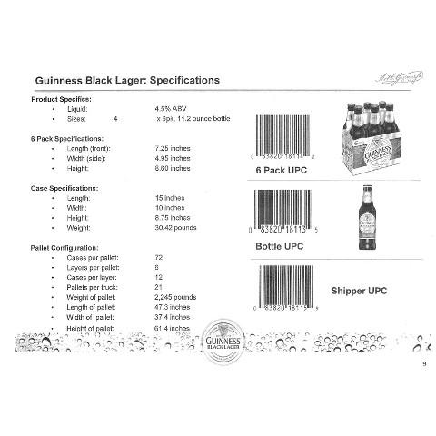 Guinness Black Lager Bottles 12 oz, 6 pk