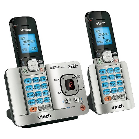 VTech DS6521-2 DECT 6.0 Expandable Cordless Phone with Bluetooth Connect to Cell, 2 Handsets - Silver