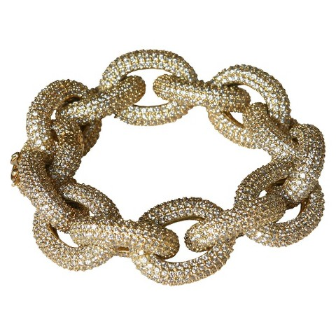 Cubic Zirconia Pavé Link Bracelet - Gold