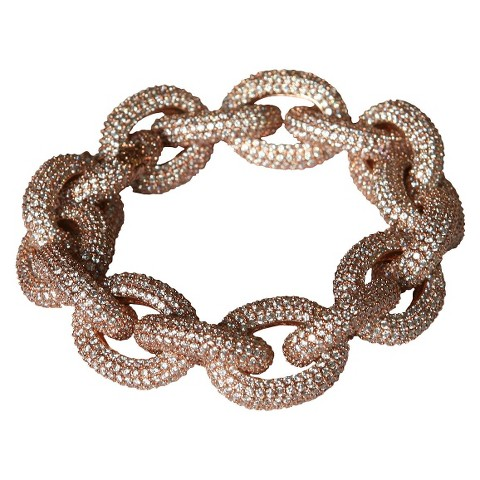 Cubic Zirconia Pavé Link Bracelet - Pink Gold