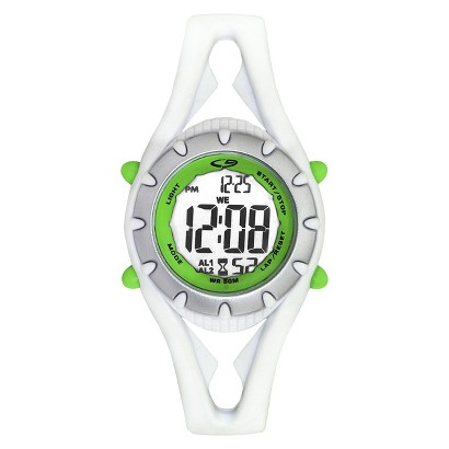 C9 by Champion® Women's Plastic Strap Digital Watch - White/Silver/Green