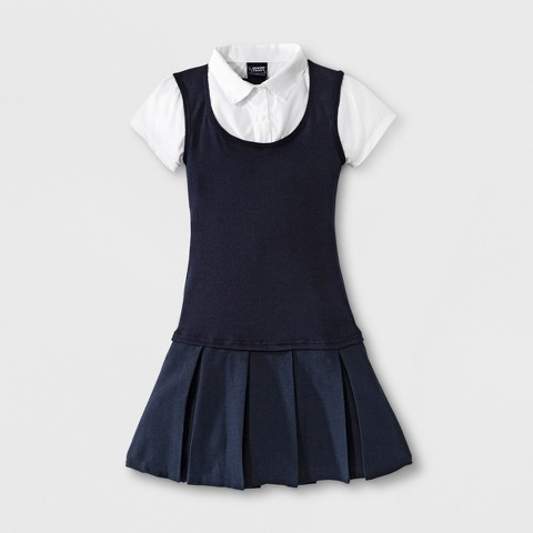 French Toast® Girls' Twofer Pleated Dress Navy