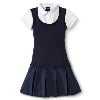 French Toast® Girls' School Uniform Short-Sleeve 2-Fer Pleated Dress