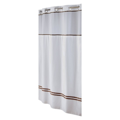 Escape Hookless Shower Curtain - White/Brown