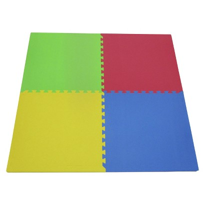 "Tadpoles Double Sided Playmat Set (24"") 4 Piece - Multicolored"