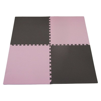 """Tadpoles Double Sided Playmat Set (24"""") 4 Piece - Pink/Brown"""