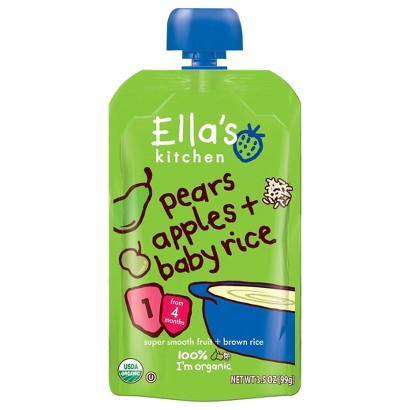 Ella's Kitchen Organic Pureed Baby Food Pouch - Stage 1 Pear Apple Rice 3.5oz (7 pack)