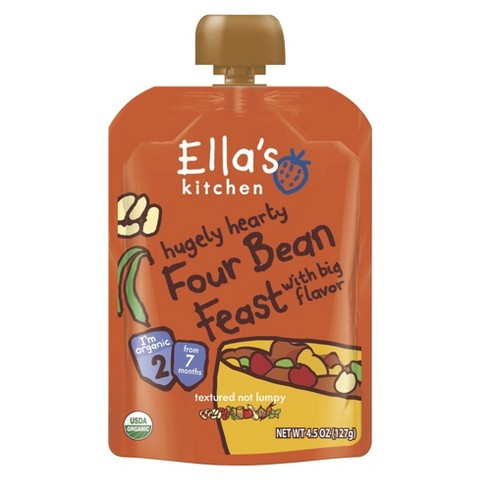 Ella's Kitchen Organic Pureed Baby Food Pouch - Stage 2 Four Bean Feast 4.5oz (7 pack)